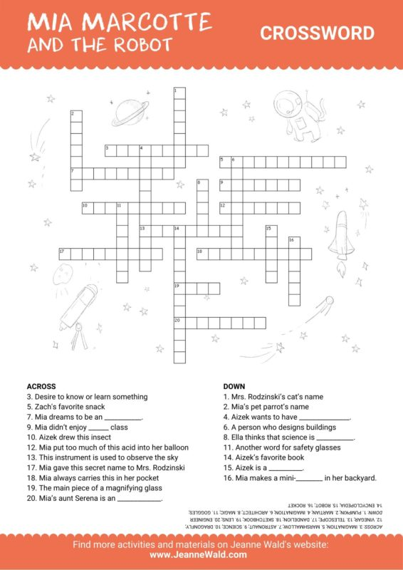 Crossword for Mia Marcotte and the Robot